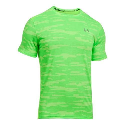 Mens Under Armour Threadborne Run Mesh Short Sleeve Technical Tops - Quirky Lime L