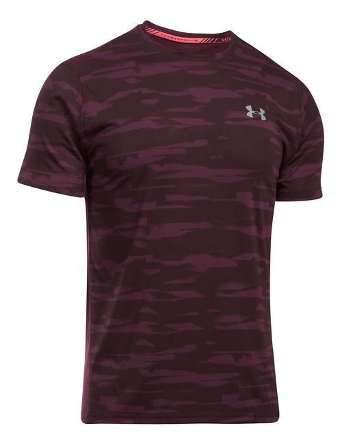 Mens Under Armour Threadborne Run Mesh Short Sleeve Technical Tops - Raisin Red M