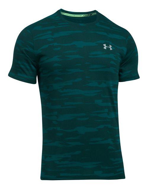Mens Under Armour Threadborne Run Mesh Short Sleeve Technical Tops - Arden Green M
