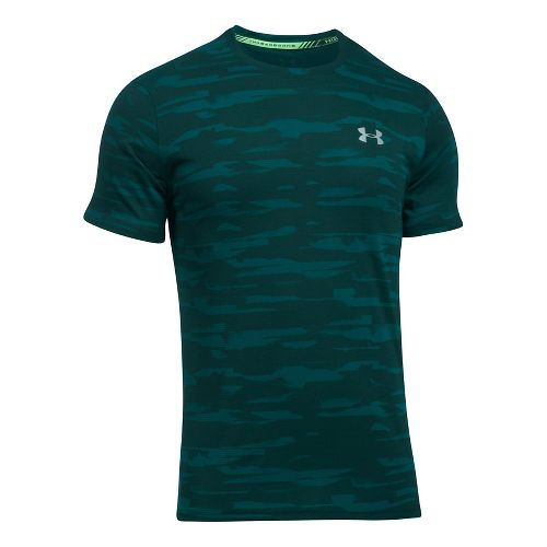 Mens Under Armour Threadborne Run Mesh Short Sleeve Technical Tops - Arden Green XL
