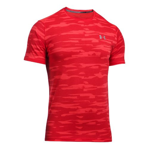 Mens Under Armour Threadborne Run Mesh Short Sleeve Technical Tops - Marathon Red XL
