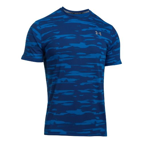 Mens Under Armour Threadborne Run Mesh Short Sleeve Technical Tops - Lapis Blue XXL