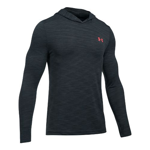 Mens Under Armour Threadborne Seamless Hoody Half-Zips & Hoodies Technical Tops - Anthracite/Red L