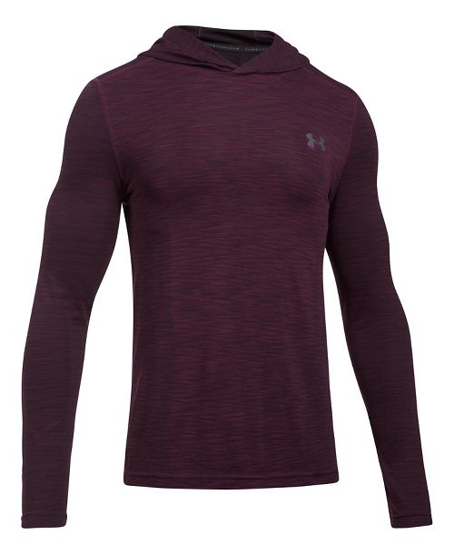 Mens Under Armour Threadborne Seamless Hoody Half-Zips & Hoodies Technical Tops - Raisin Red/Grey L