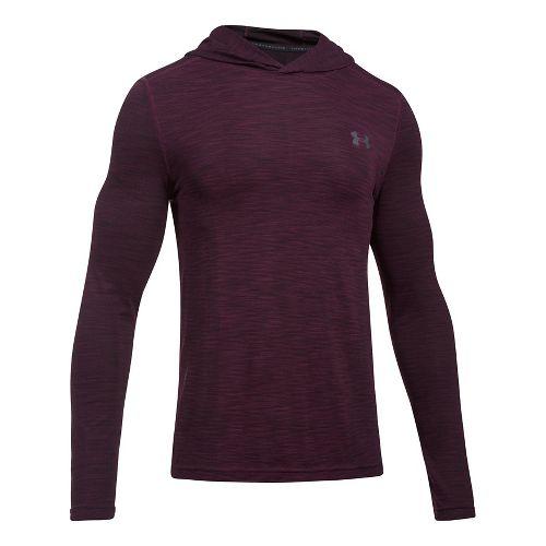 Mens Under Armour Threadborne Seamless Hoody Half-Zips & Hoodies Technical Tops - Raisin Red/Grey M