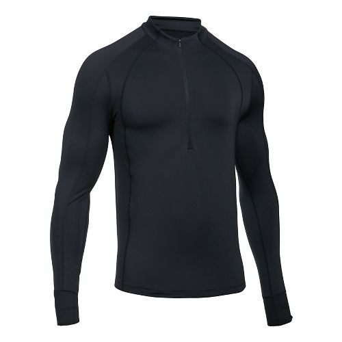 Mens Under Armour ColdGear Reactor Run Half-Zips & Hoodies Technical Tops - Black/Black S