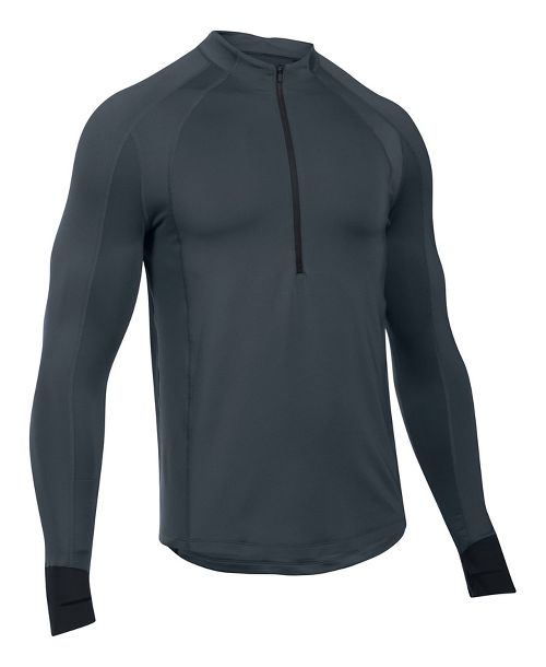 Mens Under Armour ColdGear Reactor Run Half-Zips & Hoodies Technical Tops - Stealth Grey/Black M