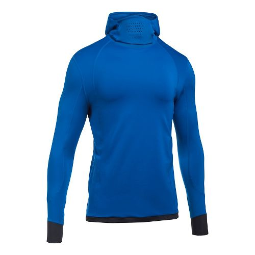Mens Under Armour ColdGear Reactor Run Balaclava Half-Zips & Hoodies Technical Tops - Lapis ...