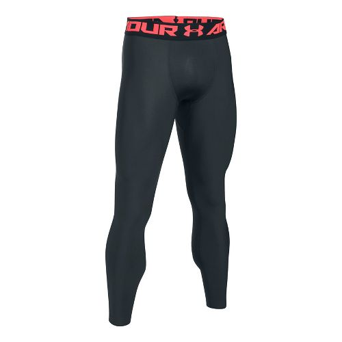 Mens Under Armour HeatGear 2.0 Tights & Leggings Pants - Anthracite/Red L