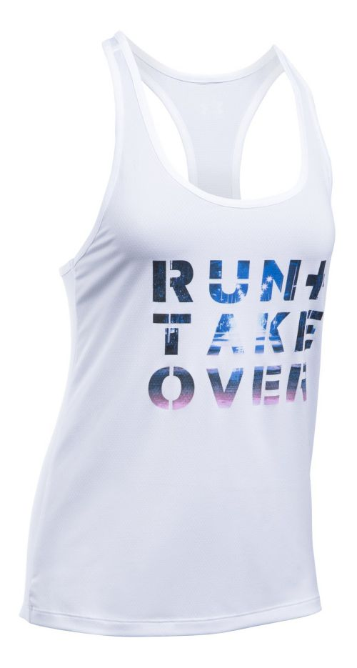 Womens Under Armour Run Takeover Graphic Sleeveless & Tank Tops Technical Tops - White XL