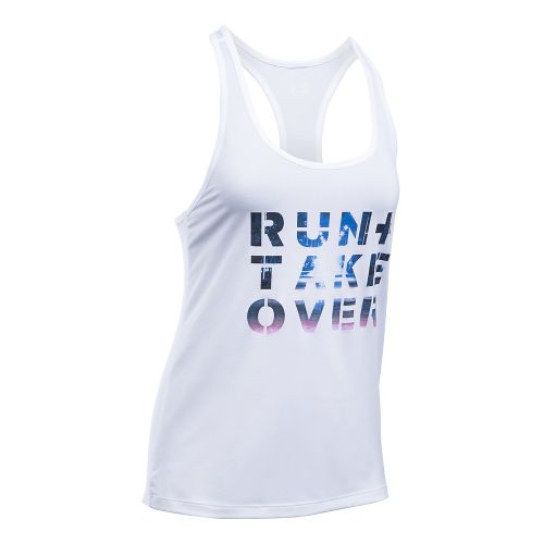 Womens Under Armour Run Takeover Graphic Sleeveless & Tank Tops Technical Tops - White L