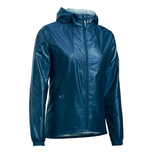 Womens Under Armour Run True Cold Weather Jackets - Navy/Skylight L