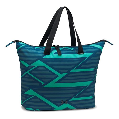 Womens Under Armour Printed On The Run Tote Bags - Navy/Absinthe Green