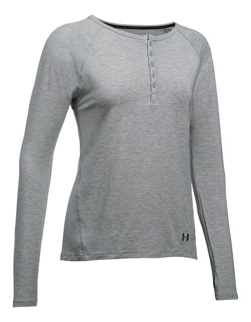 Womens Under Armour TB12 Sleep Long Sleeve Non-Technical Tops - Grey Heather S