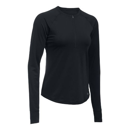Womens Under Armour Fly-By Half-Zips & Hoodies Technical Tops - Black/Black XL