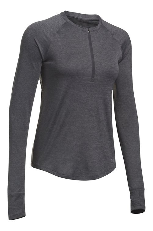Womens Under Armour Fly-By Half-Zips & Hoodies Technical Tops - Carbon/Charcoal M