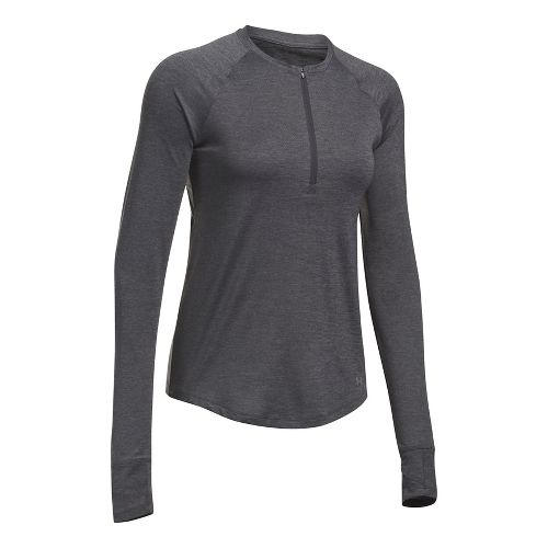 Womens Under Armour Fly By Half-Zips & Hoodies Technical Tops - Carbon/Charcoal L