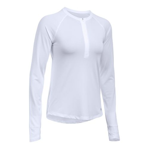 Womens Under Armour Fly By Half-Zips & Hoodies Technical Tops - White L