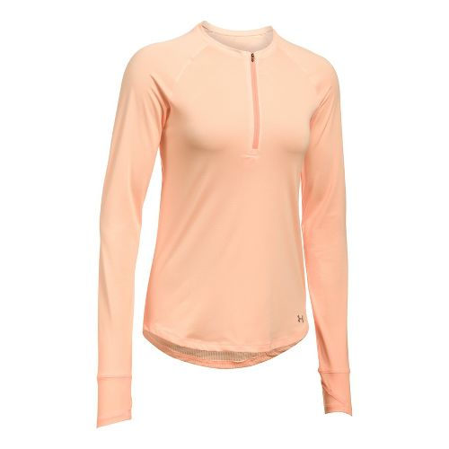Womens Under Armour Fly-By Half-Zips & Hoodies Technical Tops - Playful Peach XL