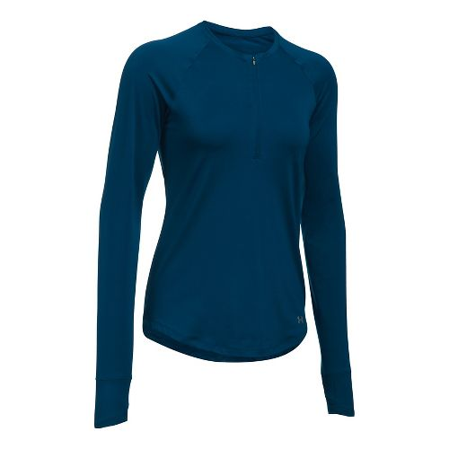 Womens Under Armour Fly By Half-Zips & Hoodies Technical Tops - Blackout Navy L