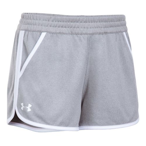 Womens Under Armour Tech 2.0 Unlined Shorts - Grey/White XL