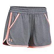 Womens Under Armour Tech 2.0 Unlined Shorts - Carbon/Orange L