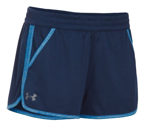 Womens Under Armour Twist Tech 2.0 Unlined Shorts - Navy/Mediterranean M