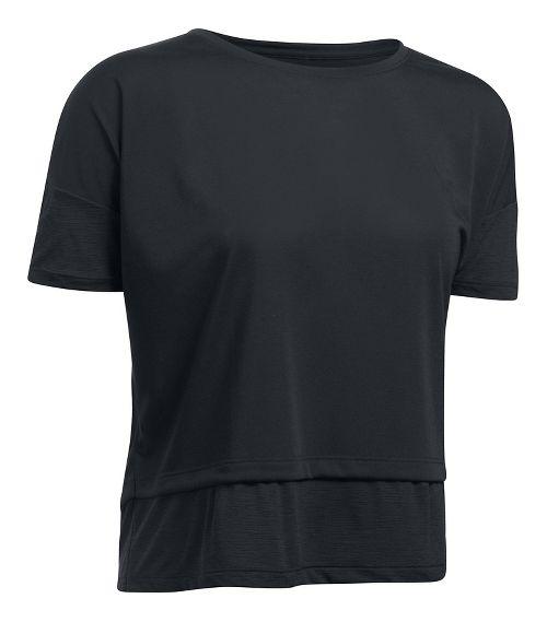 Womens Under Armour Tech Slub Layered Short Sleeve Technical Tops - Black M