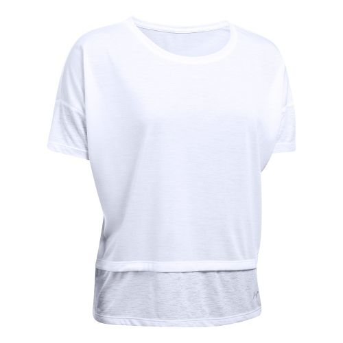 Womens Under Armour Tech Slub Layered Short Sleeve Technical Tops - White XL