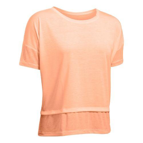 Womens Under Armour Tech Slub Layered Short Sleeve Technical Tops - Playful Peach XL