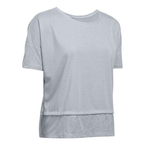 Womens Under Armour Tech Slub Layered Short Sleeve Technical Tops - Overcast Grey M