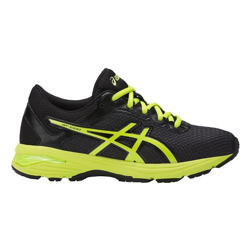 Kids ASICS GT-1000 6 Running Shoe - Black/Green 4.5Y