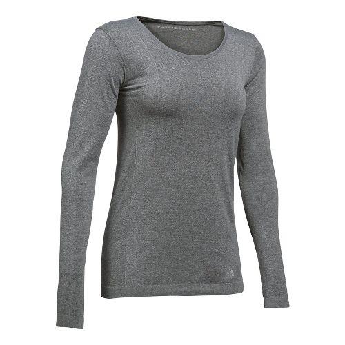 Womens Under Armour Threadborne Seamless Heather Long Sleeve Technical Tops - Carbon Heather XS