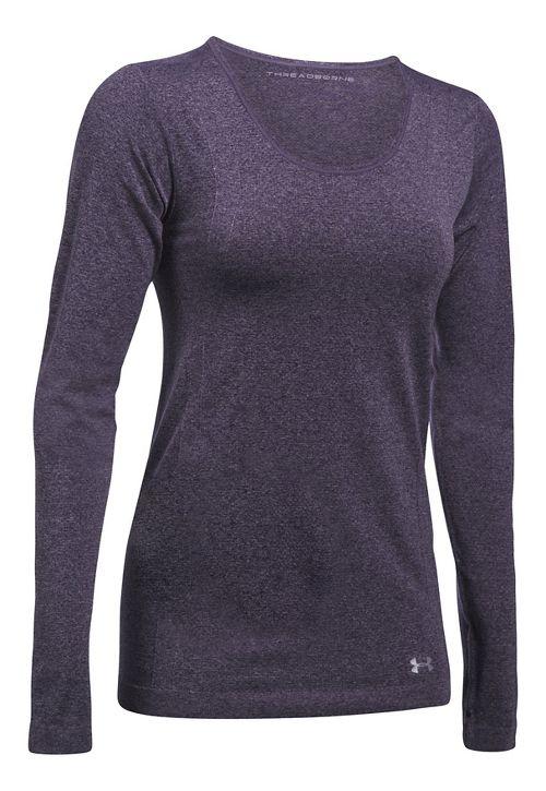 Womens Under Armour Threadborne Seamless Heather Long Sleeve Technical Tops - Imperial Purple XL