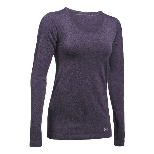 Womens Under Armour Threadborne Seamless Heather Long Sleeve Technical Tops - Imperial Purple M