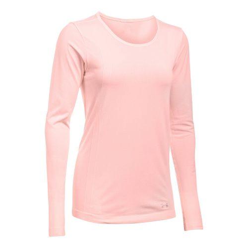 Womens Under Armour Threadborne Seamless Heather Long Sleeve Technical Tops - Ballet Pink XL