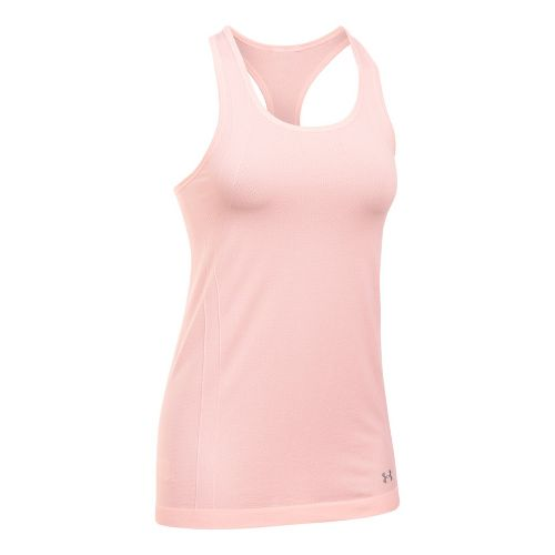 Womens Under Armour Threadborne Heather Racer Sleeveless & Tank Tops Technical Tops - Ballet Pink L