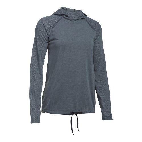 Womens Under Armour Threadborne Elite Half-Zips & Hoodies Technical Tops - Stealth Grey XS
