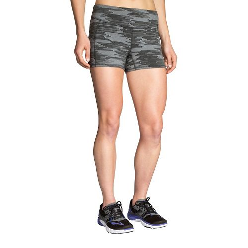 Nike womens running shorts with liner - Womens Brooks Greenlight Printed 3 Quot Tight Unlined Shorts Black Ikat