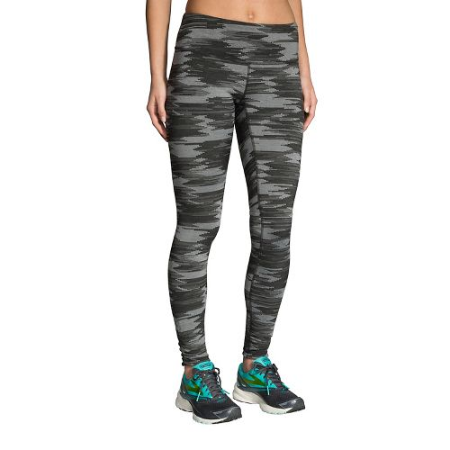 Womens Brooks Greenlight Printed Leggings Tights - Black Ikat Jacquard L