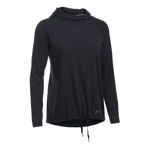 Womens Under Armour Threadborne Train Half-Zips & Hoodies Technical Tops - Black/Black XL