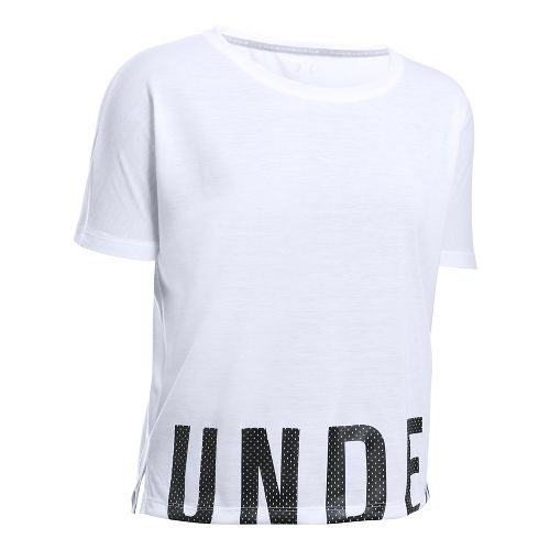 Womens Under Armour Threadborne Train Oversize Short Sleeve Technical Tops - White XL