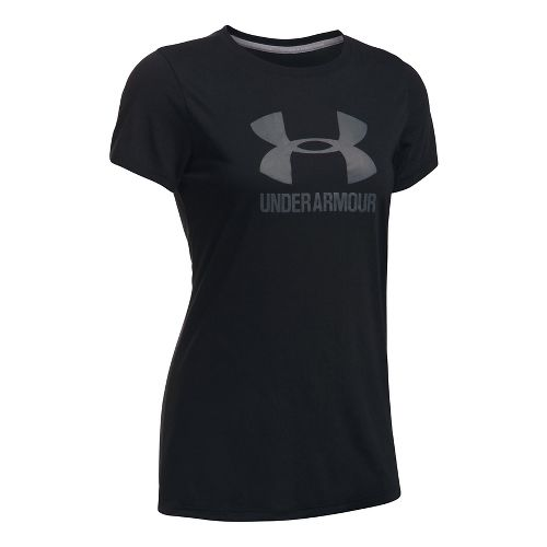 Womens Under Armour Threadborne Train Sport Crew Short Sleeve Technical Tops - Black/Graphite L