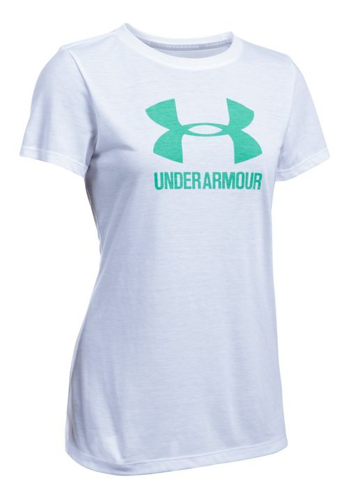 Womens Under Armour Threadborne Train Sport Crew Short Sleeve Technical Tops - White/Green M