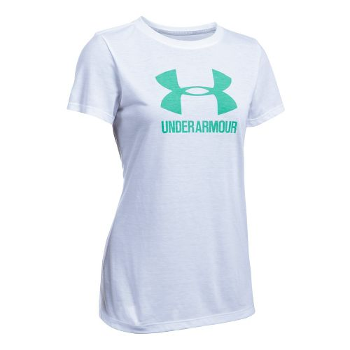Womens Under Armour Threadborne Train Sport Crew Short Sleeve Technical Tops - White/Green XS