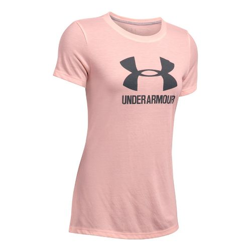Womens Under Armour Threadborne Train Sport Crew Short Sleeve Technical Tops - Pink/Grey L