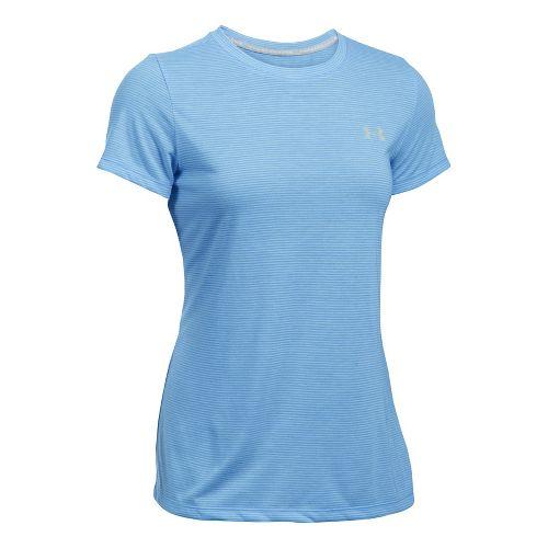 Womens Under Armour Threadborne Train Crew Neck Stripe Short Sleeve Technical Tops - Blue/White ...