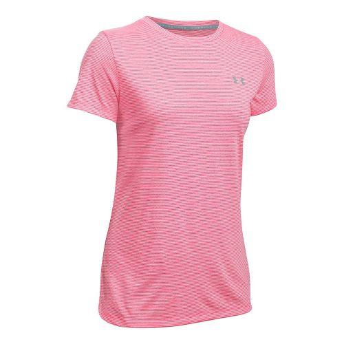 Womens Under Armour Threadborne Train Crew Neck Stripe Short Sleeve Technical Tops - Pink/White ...