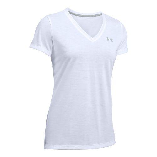 Womens Under Armour Threadborne Train V Neck Short Sleeve Technical Tops - White L