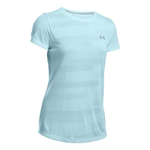 Womens Under Armour Threadborne Train Crew Neck Jacquard Short Sleeve Technical Tops - Skylight ...